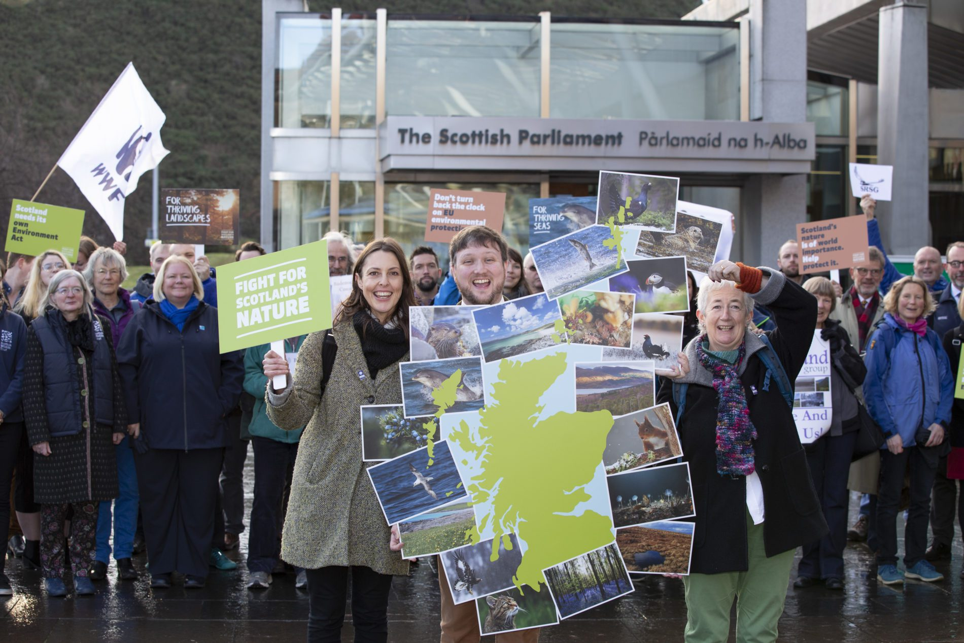 """Scottish Environmental Charities Launch Urgent Bid for an Environment Act for Scotland  Pictured Scottish Environment LINK members call for an urgent Environment Act for Scotland at The Scottish Parliament today.     Scottish Environment LINK, a coalition of Scotland's leading environmental charities will today launch an urgent campaign, """"Fight for Scotland's Nature"""" at the Scottish Parliament. Together they will call for Scotland to have its own environment act.   Fears sparked by Brexit as well as mounting evidence of the global ecological crisis also heavily impacting Scotland has prompted the charities to join forces and urge the Scottish Government to commit to a dedicated Environment Act for Scotland that protects and enhances Scotland's nature, now and in the future.   80% of all Scotland's environmental laws come from the EU. The combination of strong legislation and support for effective implementation has made these laws among the most effective on Earth. Further, Scotland's nature has been a net beneficiary of the EU's LIFE Nature fund which alone has supported conservation projects worth well over 25 million Euros to date.     If and when Brexit happens, Scotland (along with the rest of the UK) will lose the unrivalled support and enforcement roles of the European Commission, European Court of Justice and other EU bodies. Alarmingly, with only a few months to go, there is uncertainty about what will replace this.   This is why Scottish Environment LINK is pushing the Scottish Government to fight for Scotland's nature and commit to a world class environment act before it's too late. Ahead of global 2020 targets on halting biodiversity loss, it is important that Scotland sends a clear message to the world that our environmental protections are not up for grab.   Joined up legislation in the form of a Scottish Environment Act, that is fit for purpose and caters to Scotland's unique environmental needs is required for this to be meaningful.   Scotland may be"""